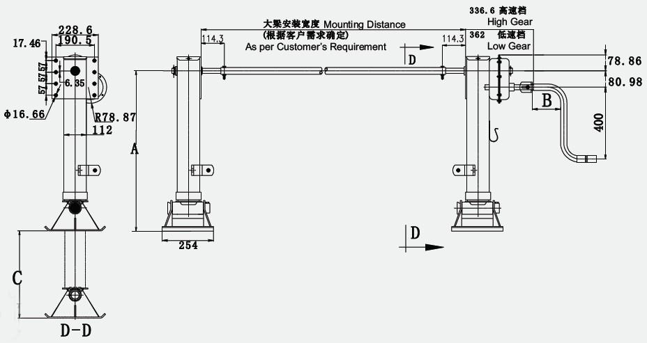 支承装置尺寸(可按客户需求提供单动或联动型式)   项目